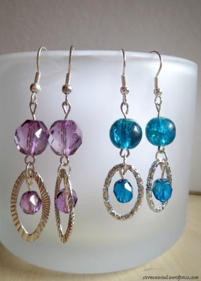 Ohrringe violett und blau