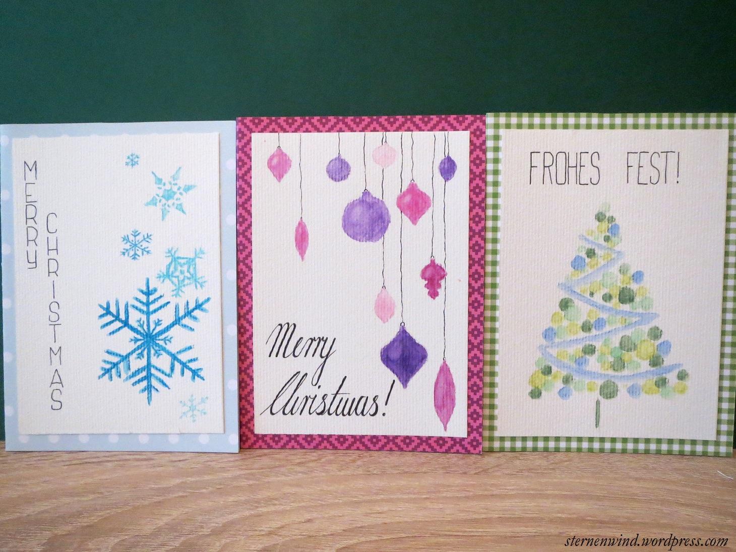 Weihnachtskarten Motive.Diy Selbstgemalte Weihnachtskarten Sternenwind Blog