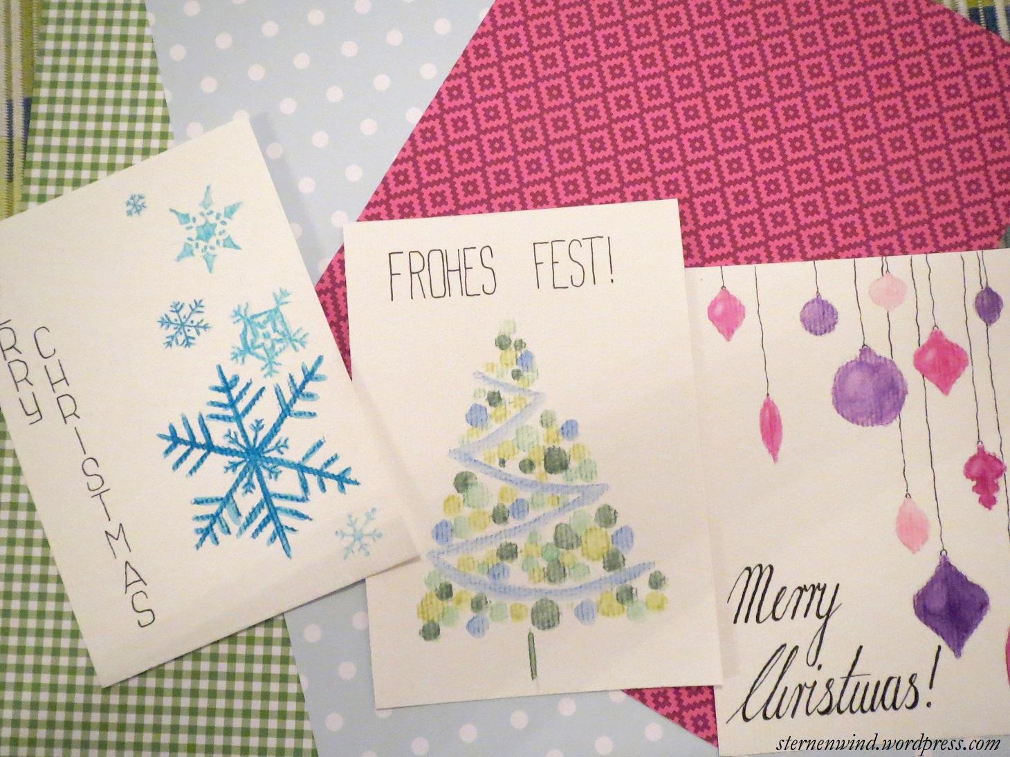 Gemalte Weihnachtskarten.Diy Selbstgemalte Weihnachtskarten Sternenwind Blog