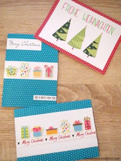 Weihnachtskarten mit Motivpapier