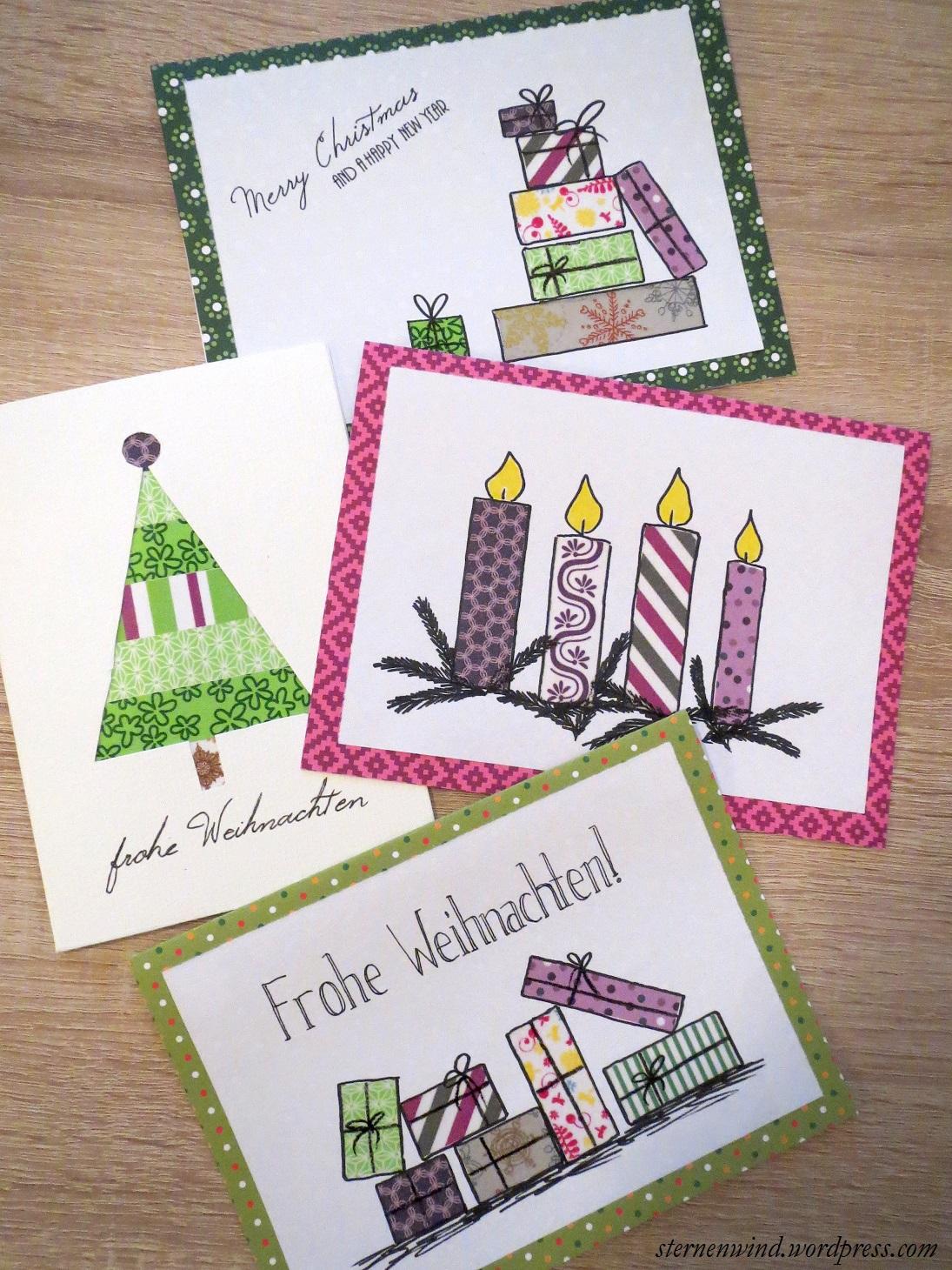 Diy weihnachtskarten mit washitape und motivpapier sternenwind blog - Pinterest weihnachtskarten ...