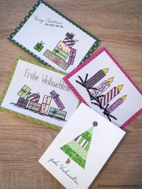 Weihnachtskarten mit Washitape