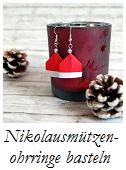 Nikolausmützenohrringe aus Papier Anleitung