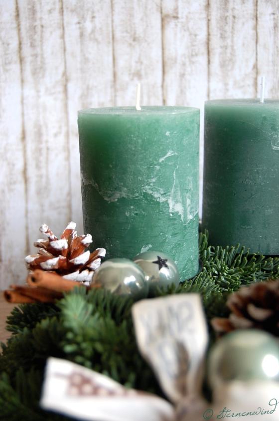 Adventskranz mintgrün basteln