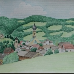Völs am Schlern Aquarell
