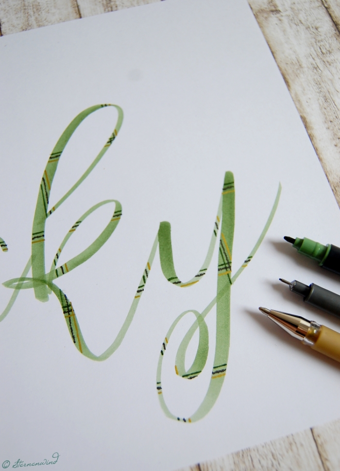 Anleitung Plaidlettering Schottenstoff Lettering