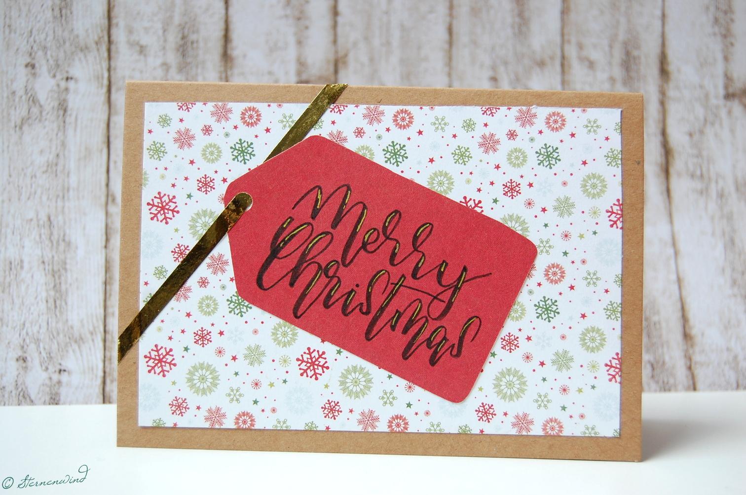Gebastelte Weihnachtskarten.Lettering 14 Weihnachtskarten Lettern Teil 1 Sternenwind Blog