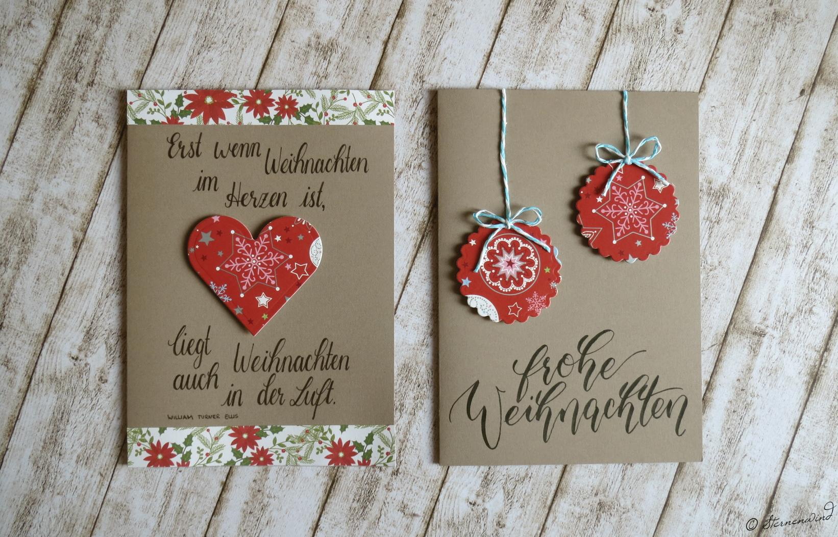 Weihnachtskarten Lettering beige / braun