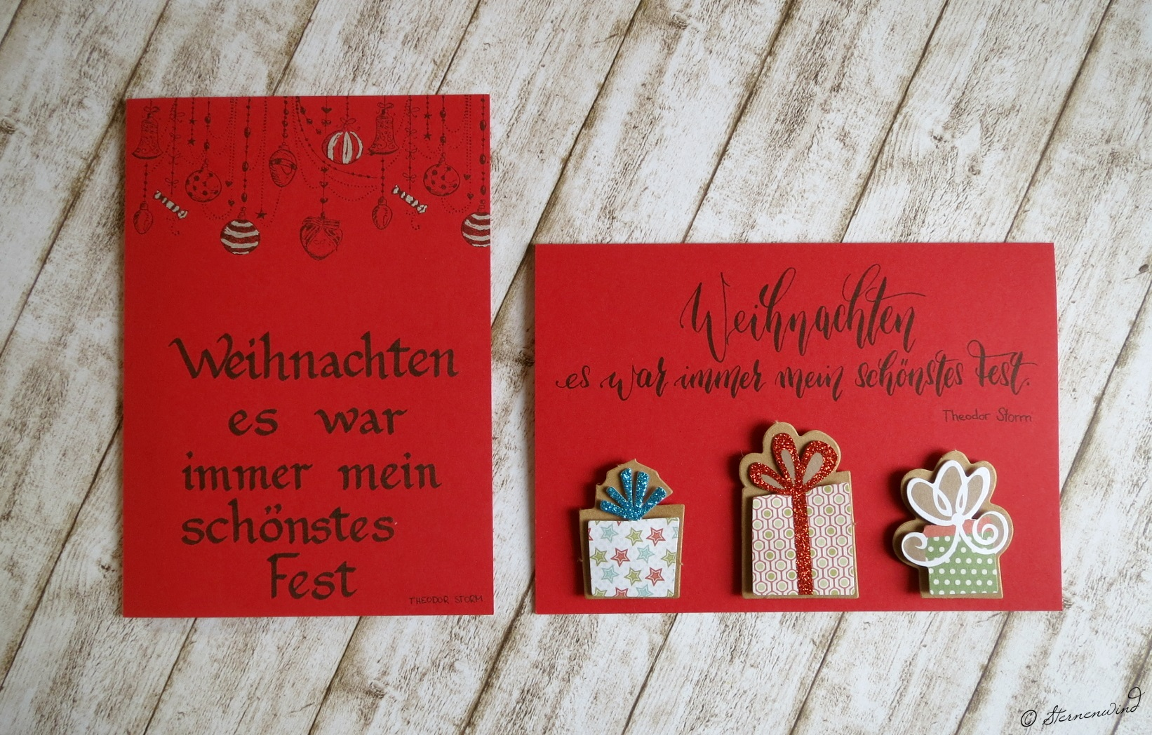Handlettering Weihnachtskarten rot